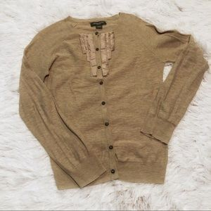 Eddie Bauer Pleated Ruffle Button Down Cardigan